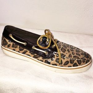 RARE Sperry Leopard Sequin Top-Sider Bahama Shoes